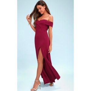 Lulu's Magenta Off-The-Shoulder Maxi Dress